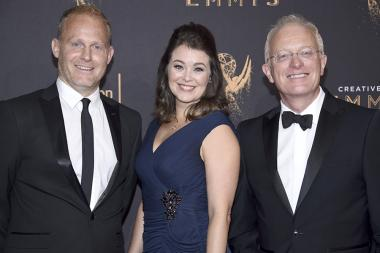Tom Hugh-Jones, Elizabeth White, and Mike Gunton on the red carpet at the 2017 Creative Arts Emmys.