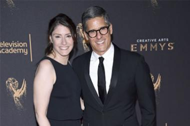 Christina Miller and Robert Sorcher on the red carpet at the 2017 Creative Arts Emmys.