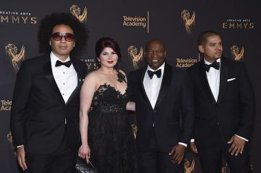 The L.A. Burning: The Riots 25 Years Later team on the red carpet at the 2017 Creative Arts Emmys.