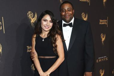 Kenan Thompson and Christina Evangeline on the red carpet at the 2017 Creative Arts Emmys.
