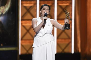 Rachel Bloom on stage at the 2017 Creative Arts Emmys.