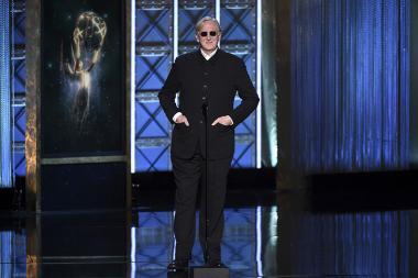 T Bone Burnett on stage at the 2017 Creative Arts Emmys.