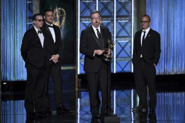 The sound editing team from The Beatles: Eight Days A Week - The Touring Years accepts their award at the 2017 Creative Arts Emmys.