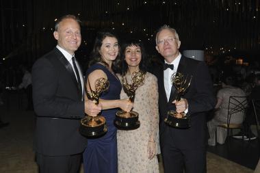 Tom Hough-Jones, Elizabeth White, and Michael Gunston at the 2017 Creative Arts Emmys.