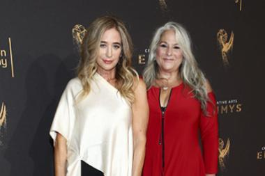 Allyson Fanger and Marta Kauffman on the red carpet for the 2017 Creative Arts Emmys.
