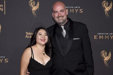 Yisong Chen and Jeremy Ball on the red carpet at the 2017 Creative Arts Emmys.