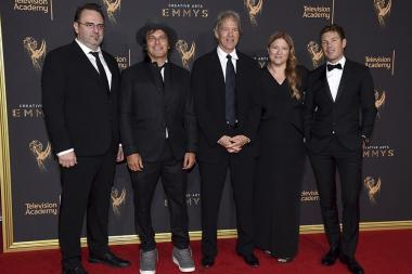 Marc Cote, Nathan Ross, David E. Kelley, Bruna Papandrea and Per Saari on the red carpet at the 2017 Creative Arts Emmys.