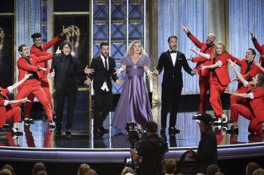 Fred Tallaksen, Travis Wall, Mandy Moore, and Derek Hough on stage at the 2017 Creative Arts Emmys.