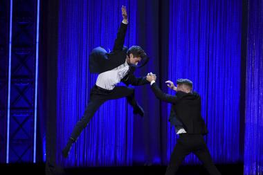 Travis Wall on stage at the 2017 Creative Arts Emmys.