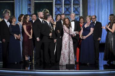 Leah Remini and the Leah Remini: Scientology & the Aftermath team accept an award at the 2017 Creative Arts Emmys.