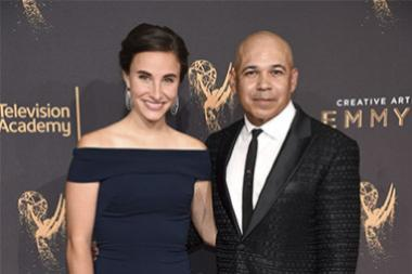Katherine Cronyn and Eddie Perez on the red carpet at the 2017 Creative Arts Emmys.