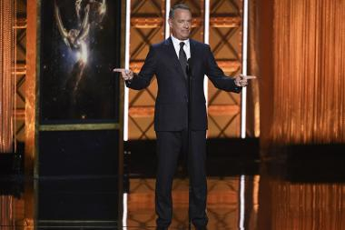 Tom Hanks on stage at the 2017 Creative Arts Emmys.