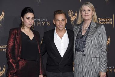 Jennifer Salim, Paolo Nieddu and Mary Lane on the red carpet at the 2017 Creative Arts Emmys.