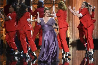 Mandy Moore on stage at the 2017 Creative Arts Emmys.