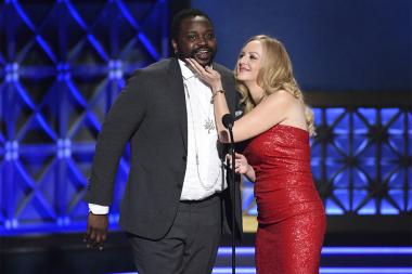 Brian Tyree Henry and Wendi McLendon-Covey on stage at the 2017 Creative Arts Emmys.