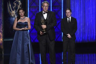 The Veep Production Design team accepts an award at the 2017 Creative Arts Emmys.