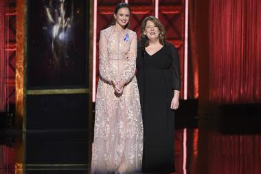 Alexis Bledel and Ann Dowd on stage at the 2017 Creative Arts Emmys.