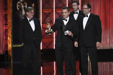 Keith Rogers and the team of Westworld accept their award at the 2017 Creative Arts Emmys.