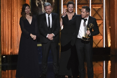 John X Hannes and the team for Calling JohnMalkovich.com accept their award at the 2017 Creative Arts Emmys.