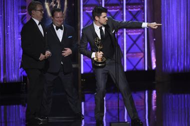The sound editing team for Stranger Things accepts their award at the 2017 Creative Arts Emmys.