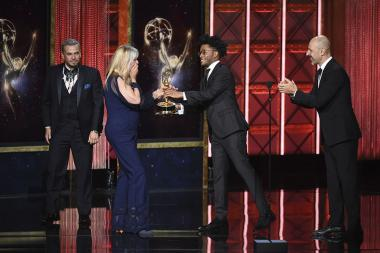 The hairstyling team from Westworld accepts their award at the 2017 Creative Arts Emmys.
