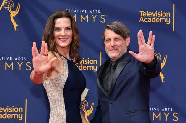 Terry Farrell and Adam Nimoy