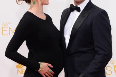 Sophie Flack and Josh Charles of The Good Wife arrives at the 66th Emmys.