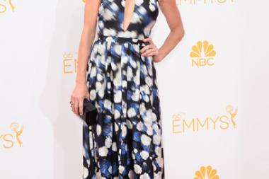 Julie Bowen of Modern Family arrives at the 66th Emmy Awards.