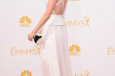 Kate Mara of House of Cards arrives at the 66th Emmys.
