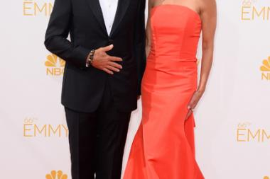 Harry Hamlin of Mad Men and Lisa Rinna arrive at the 66th Emmy Awards.