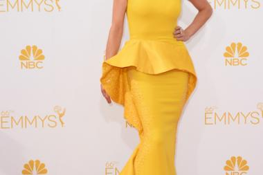 Kate Walsh of Fargo arrives at the 66th Emmy Awards.