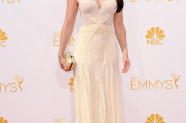 Lucy Liu of Elementary arrives at the 66th Emmy Awards.