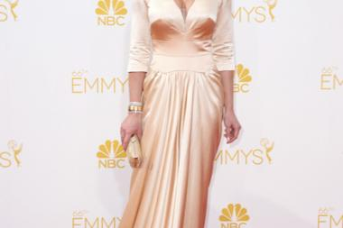 Katherine Heigl arrives at the 66th Emmy Awards.