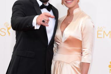 Josh Kelley and Katherine Heigl arrive at the 66th Emmy Awards.