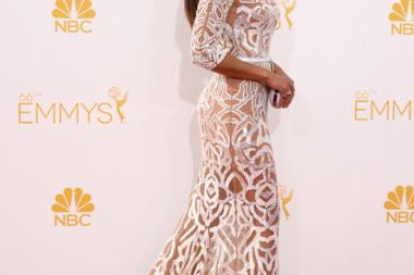 Camila Alves McConaughey arrives at the 66th Emmys.
