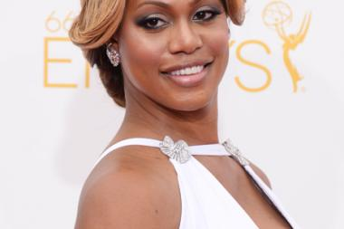 Laverne Cox of Orange is the New Black arrives at the 66th Emmy Awards.