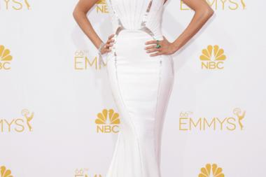 Sofia Vergara of Modern Family arrives at the 66th Emmy Awards.