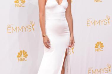 Kristen Wiig of The Spoils of Babylon arrives at the 66th Emmy Awards.