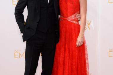 Hugh Dancy of Hannibal and Claire Danes of Homeland arrive at the 66th Emmys.
