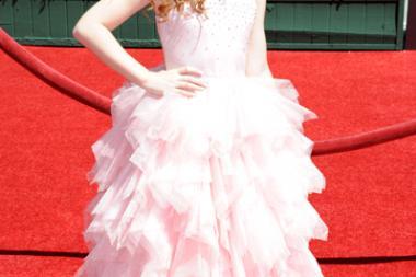 Francesca Capaldi arrives for the 2014 Primetime Creative Arts Emmys.