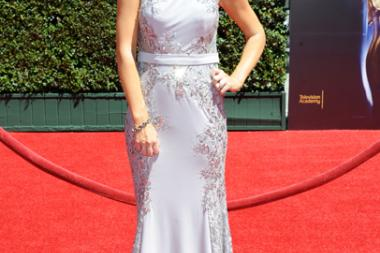 Brooke Anderson arrives for the 2014 Primetime Creative Arts Emmys.