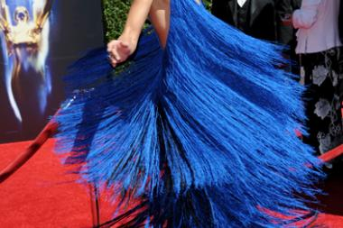 Heidi Klum of Project Runway arrives for the 2014 Primetime Creative Arts Emmys.