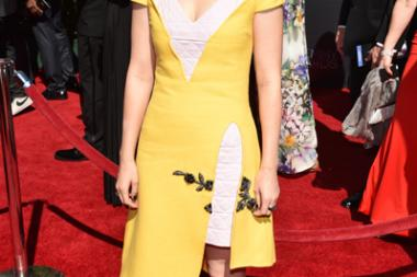 Kate Mara of House of Cards arrives for the 2014 Primetime Creative Arts Emmys.