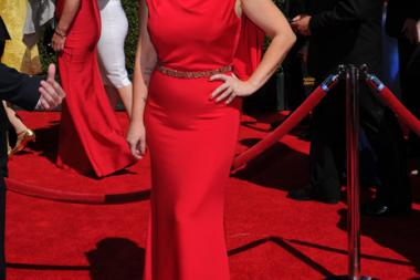 Marina Toybina of The X-Factor arrives for the 2014 Primetime Creative Arts Emmys.