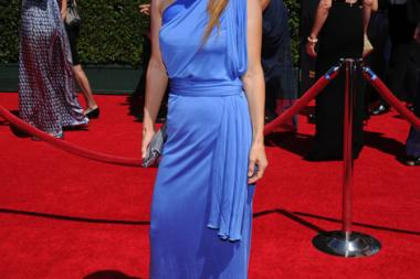 Lati Grobman arrives for the 2014 Primetime Creative Arts Emmys.
