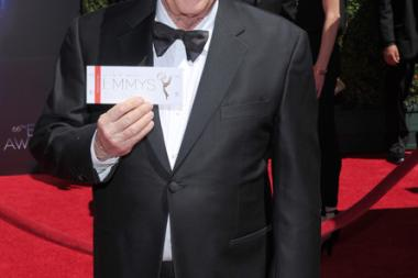 Robert Morse of Mad Men arrives for the 2014 Primetime Creative Arts Emmys.
