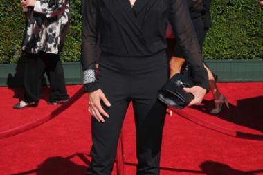 Mariel Hemingway arrives for the 2014 Primetime Creative Arts Emmys.