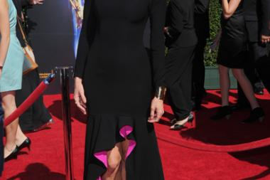 Erin Hayes arrives for the 2014 Primetime Creative Arts Emmys.