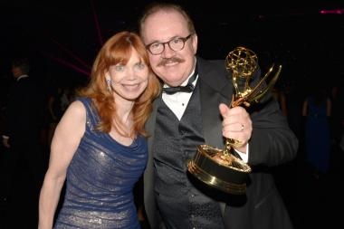 Emmett Loughran (r) and Ellen Loughran (l) celebrate at the 2014 Creative Arts Emmys ball.