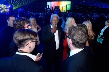 Morgan Freeman of Through the Wormhole at the 2014 Creative Arts Emmys ball.